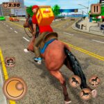 Mounted Horse Riding Pizza Guy: Food Delivery Game MOD APK 1.0.5  (Unlimited Money)